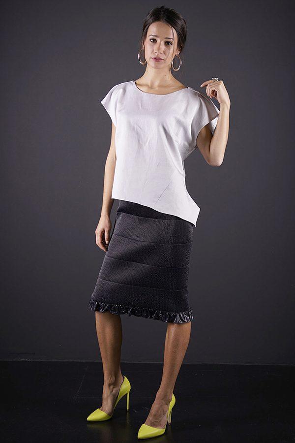 Bluza asimetrică gri argintiu COOLer